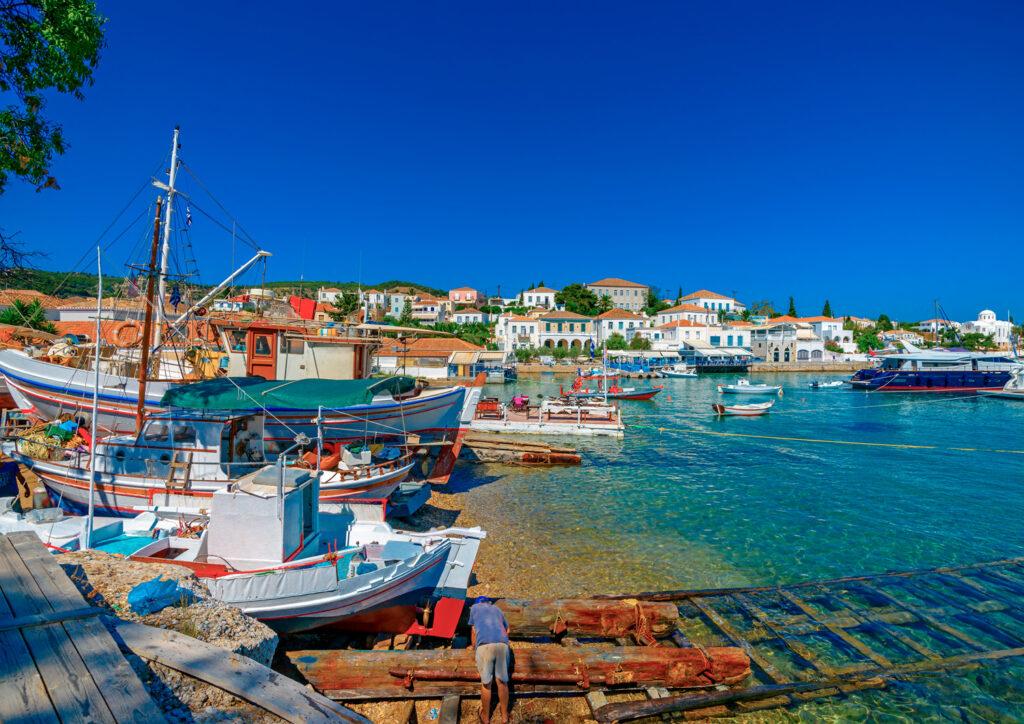 Traditional old shipyard in Spetses island, Saronic Gulf, Greece