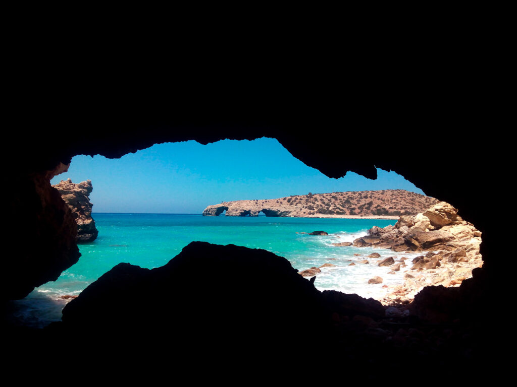 View of Tripiti Beach seen from a cave at the Libyan Sea in Gavdos island, Greece