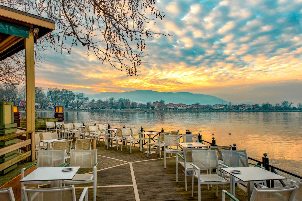 View of Lake Pamvotis in Ioannina City at sunset, Epirus, Greece