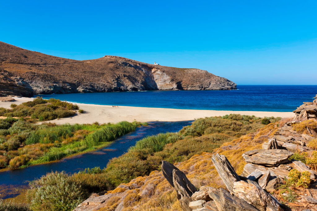Achla beach in Andros, Cyclades, Greece