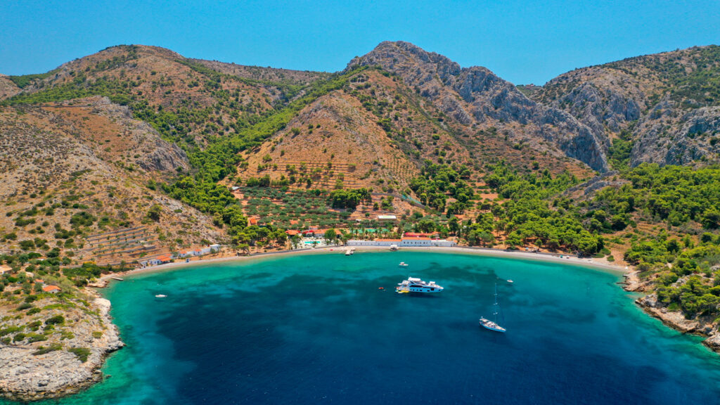 The small Molos Bay in the picturesque island of Hydra, Saronic Gulf Greece