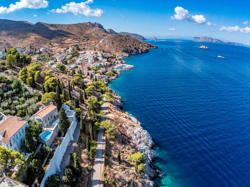 Aerial view of Kamini village, Hydra island, Saronic Gulf Greece