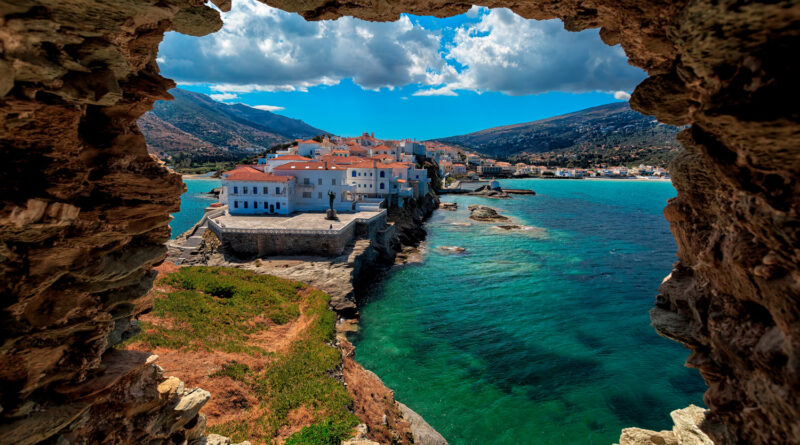 View from the rock of the ancient fortress in Chora Andros, Andros island, Cyclades, Greece