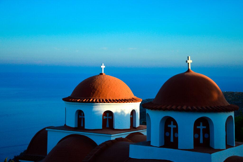 Monastery Agios Savvas in Kalymnos island, Dodecanes Greece