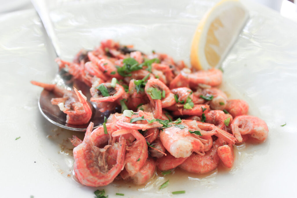 The delicious and famous Symi Shrimps, Symi island, Dodecanese Greece