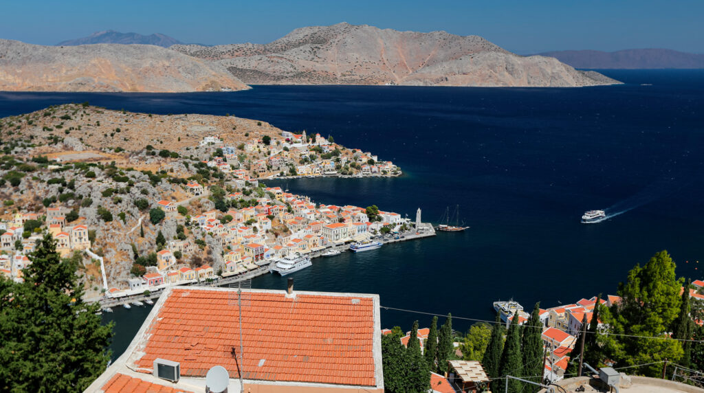 Overview of Symi port, Dodecanese Greece