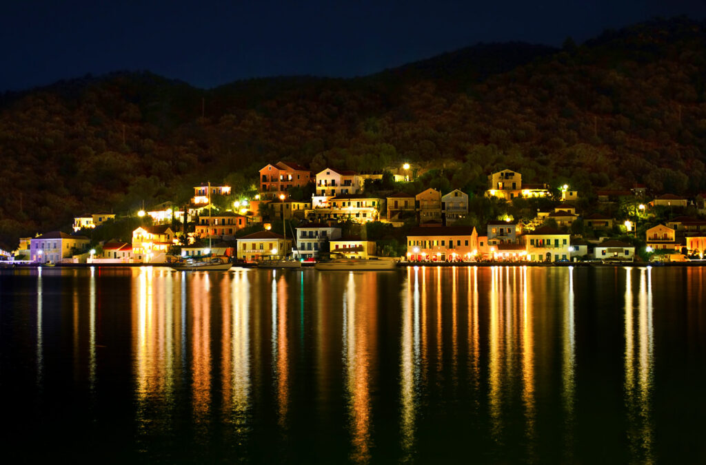 Night view of Vathy town in Ithaca, Ionian Sea Greece