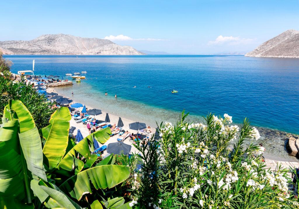 Nos beach, Symi island, Dodecanese Greece