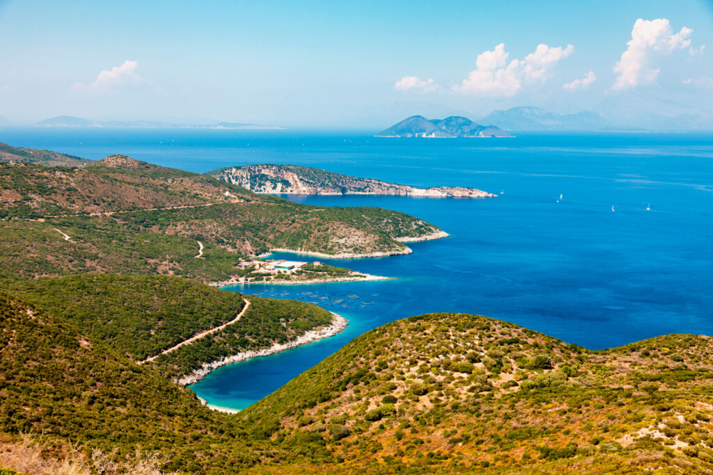 Panoramic view of Ithaca island in the Ionian Sea Greece