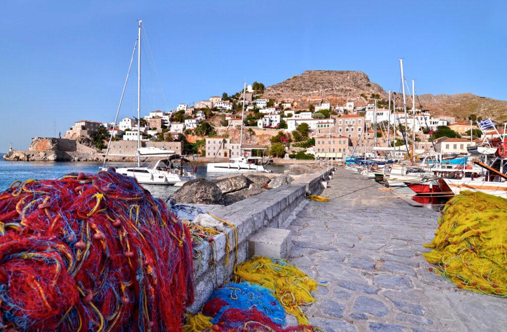 The port with fishing boats and nets, Hydra island, Saronic Gulf Greece