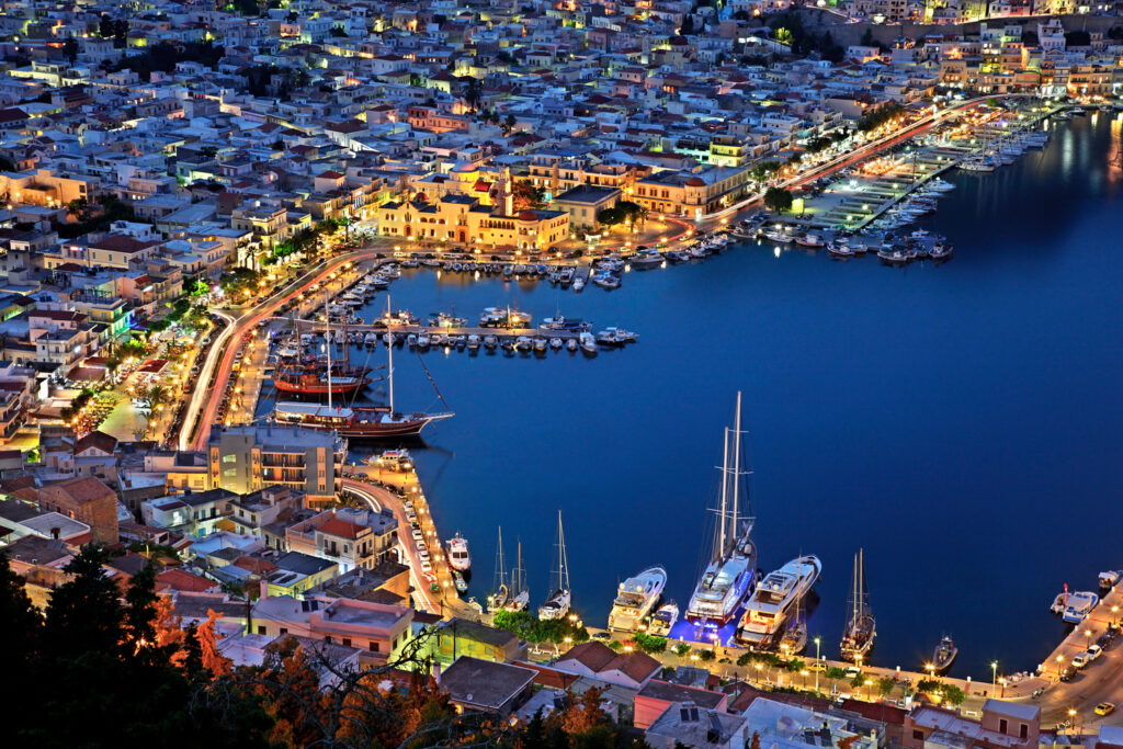Overview of Pothia, the capital town of Kalymnos, Dodecanese Greece