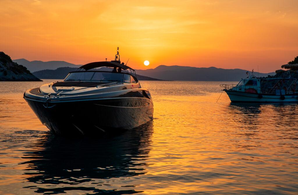 Sunset as seen from the beach of Aponissos, Agistri island, Saronic Gulf- Greece