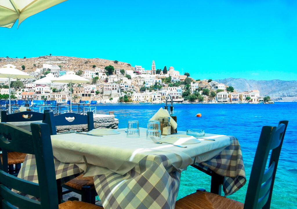 Tavern overlooking the port of Symi, Dodecanese Greece