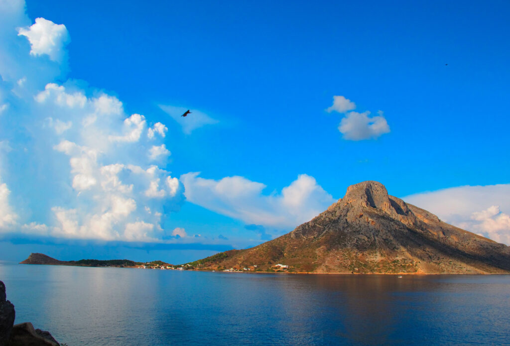View of Telendos from Kalymnos island, Dodecanese Greece