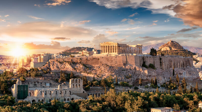 Acropolis of Athens with the Parthenon temple on top of the hill, Athens Greece