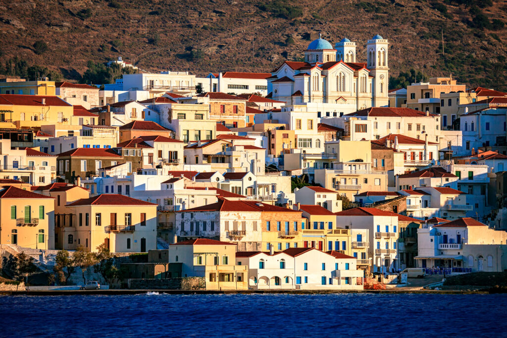 Chora Andros at sunset, Andros, Cyclades, Greece