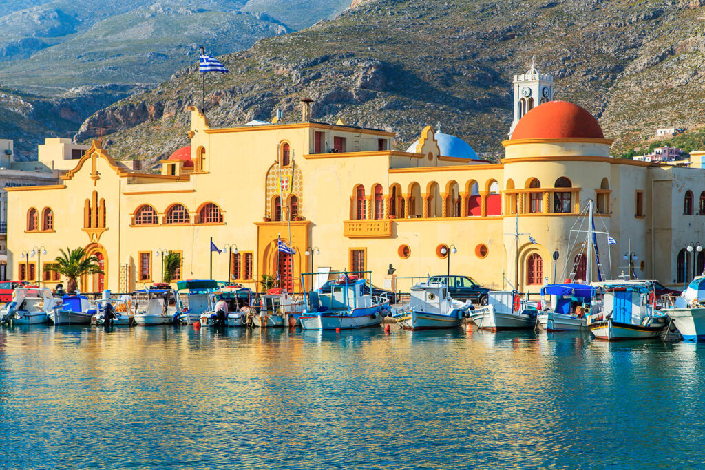 The central port of Pothia in Kalymnos island, Dodecanese Greece