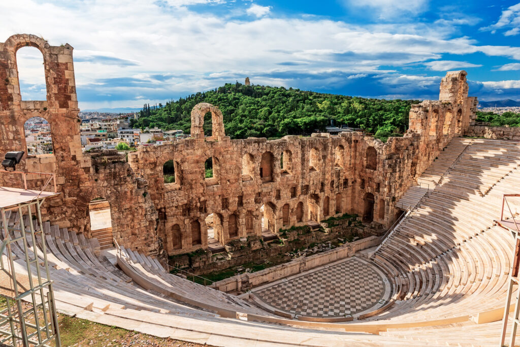 The Odeon of Herodes Atticus also called Herodeion is a stone Roman theater located on the Acropolis of Athens Greece