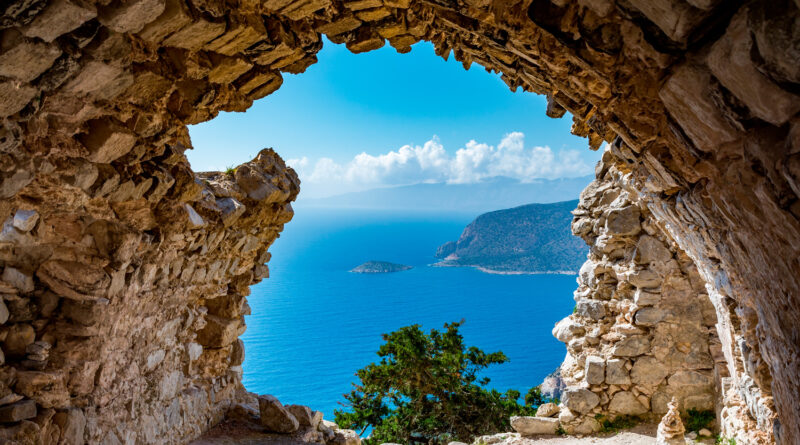 View from the ruins of Monolithos Castle in Rhodes island, Dodecanese Greece