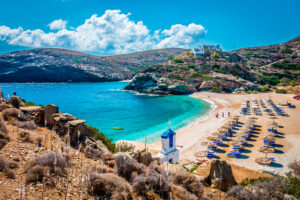 view of Vitali beach on Andros east coast Cyclades Greece