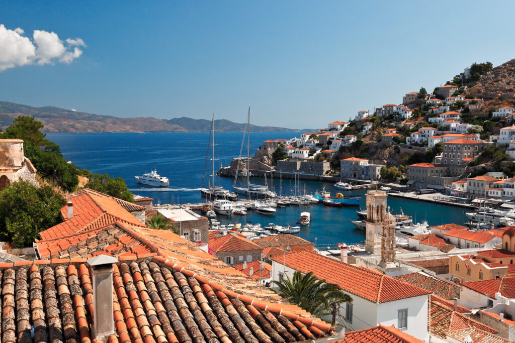 View of Hydra port, seen from above the rooftops, Hydra, Saronic Gulf Greece