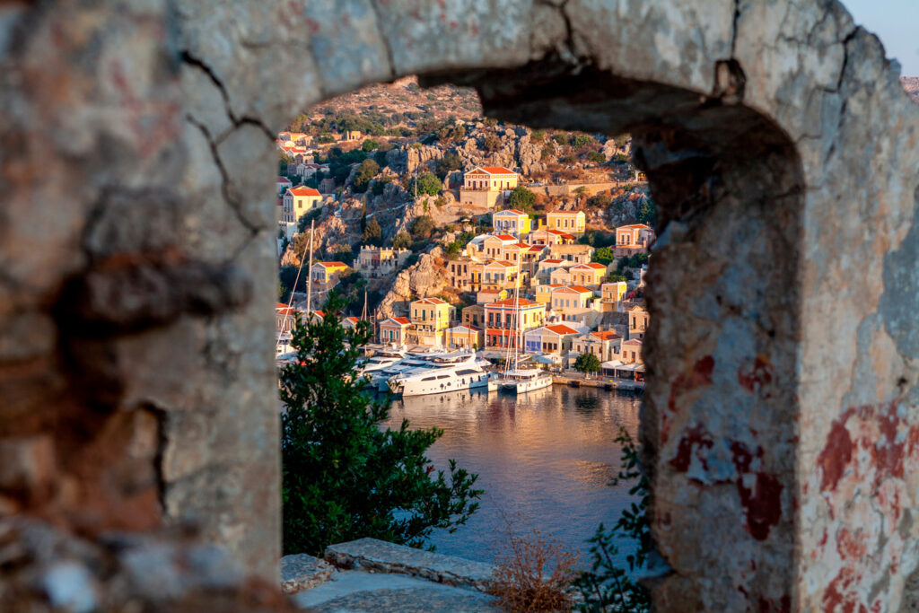 View from Ano Symi towards the port, Dodecanese Greece
