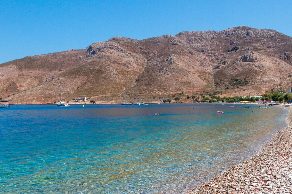 Beach of Livadia, in Tilos island, Dodecanese complex, Greece