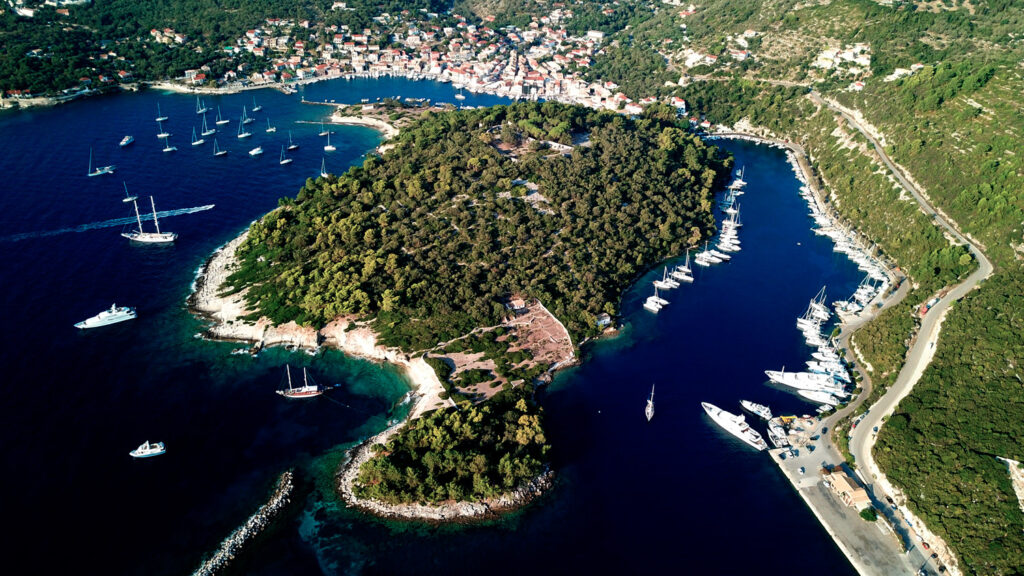 Aerial view of the safe natural harbour of Gaios, Paxos island, Ionian Sea Greece