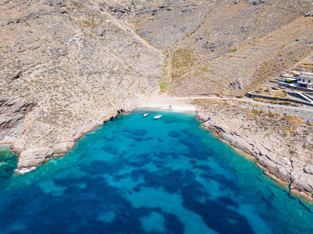 Drone view of tiny beach in Kea island, Cyclades Greece