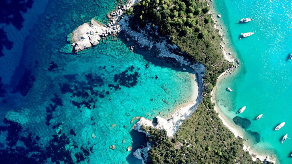 Small port and fishing village of Lakka with mooring sailboats, Paxos island, Ionian Sea Greece