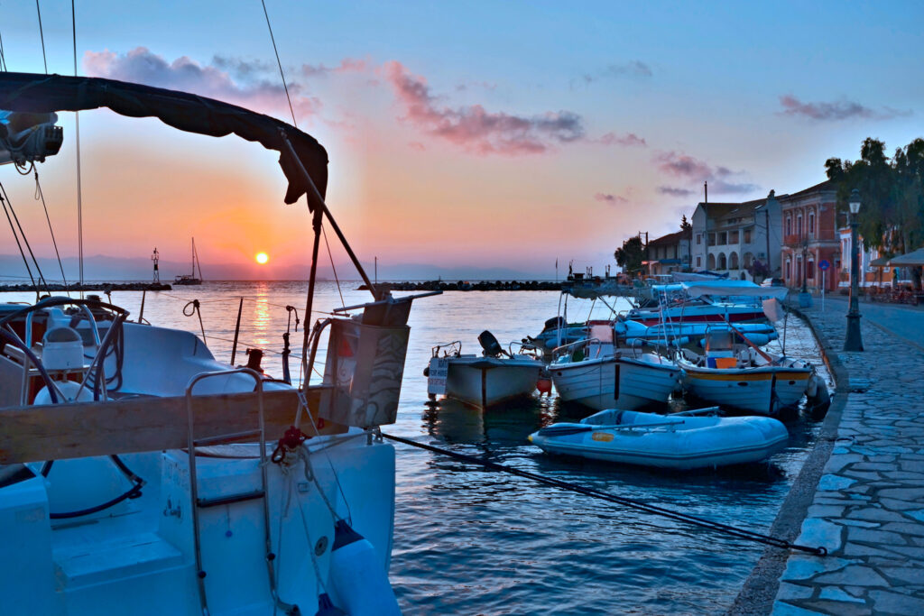 Sunrise at the harbour of Gaios in Paxos island, Ionian Sea Greece
