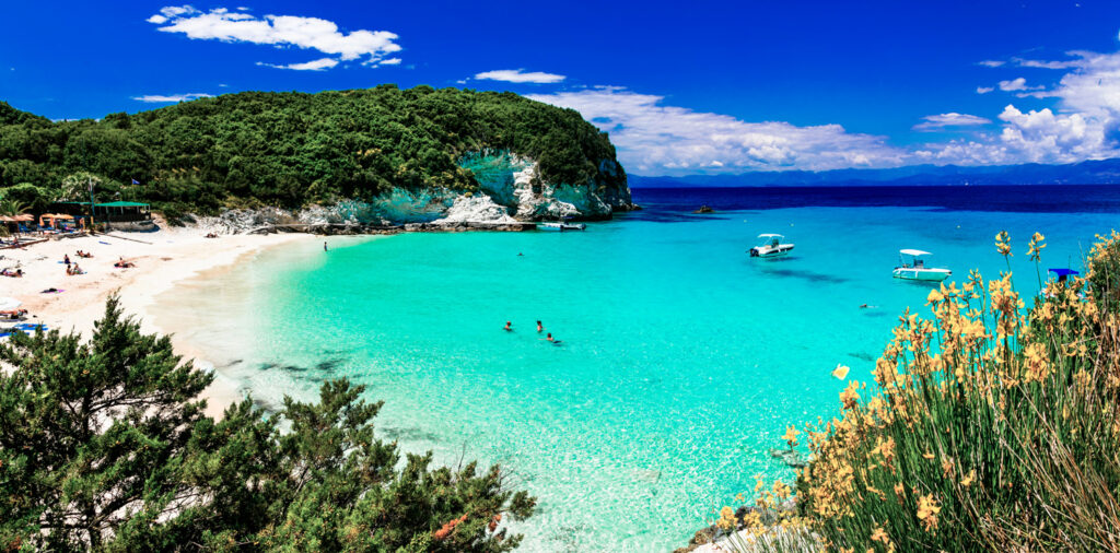 Vrika beach in Antipaxos, one of the most beautiful beaches in Greece