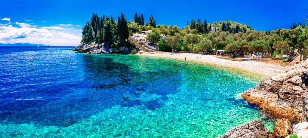 Levrechio beach in Paxos island, Ionian Sea Greece