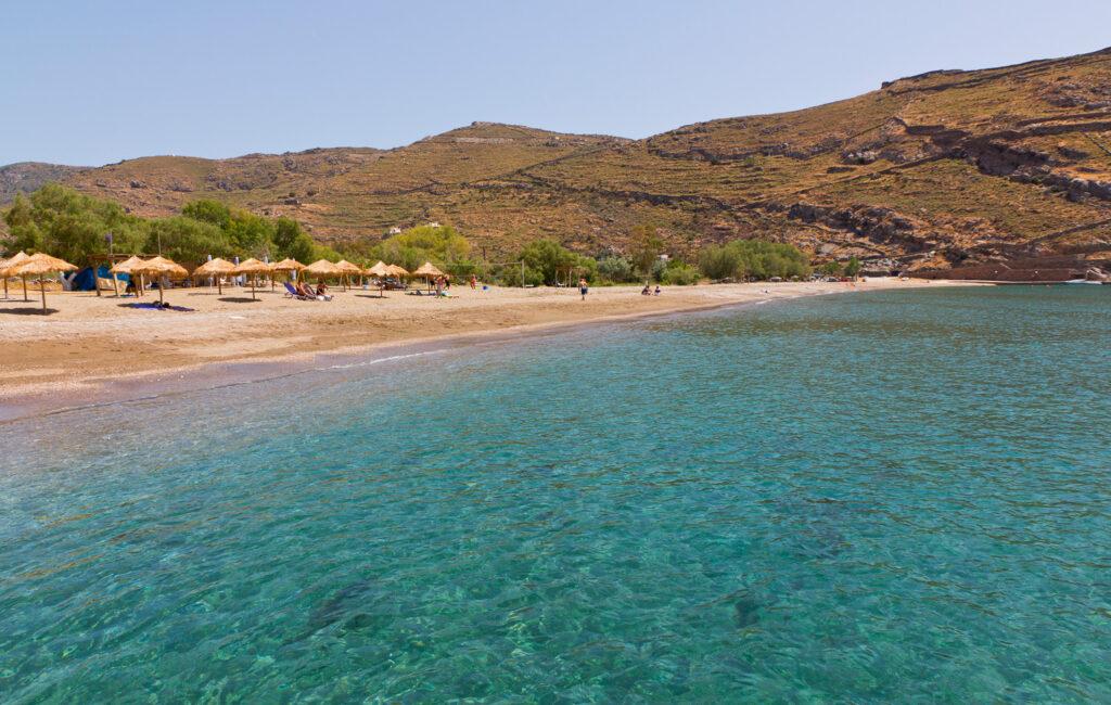 Pisses beach in Kea island, Cyclades Greece