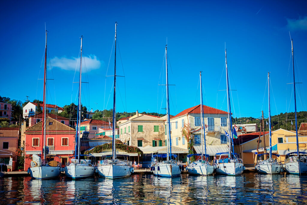 Sailboats in the port of Gaios, Paxos island, Ionian Sea Greece