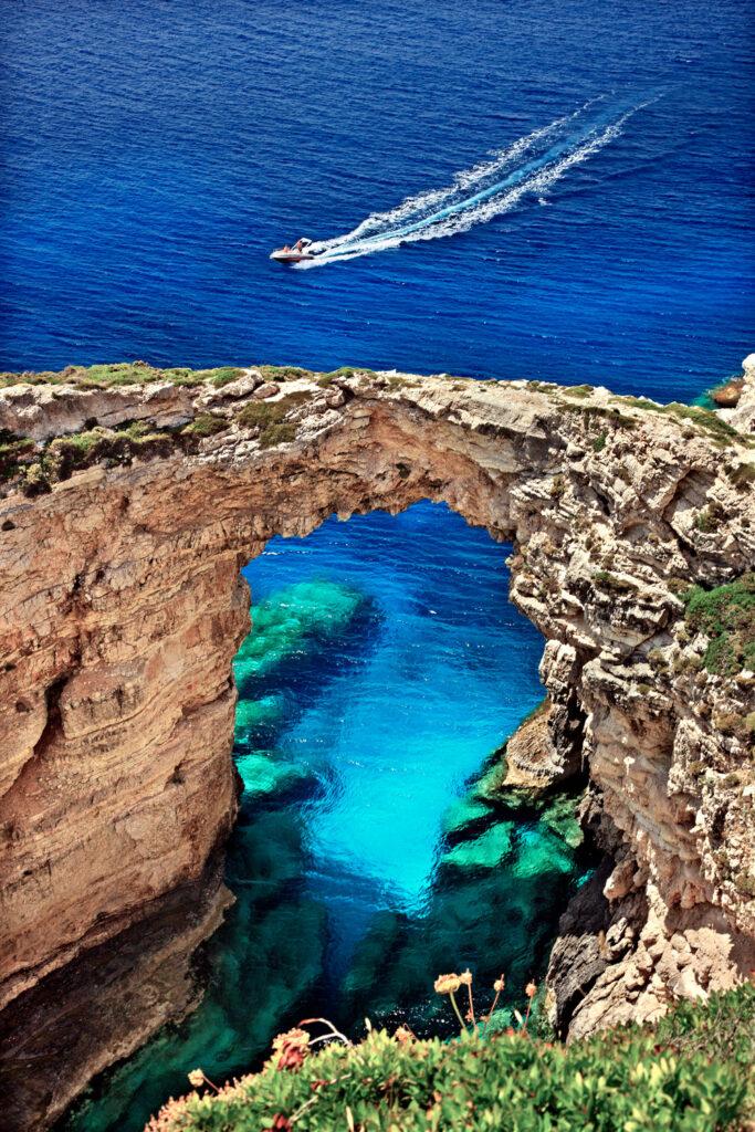Trypitos, also known as Kamara, a natural rock bridge at Paxos island, Ionian Sea Greece