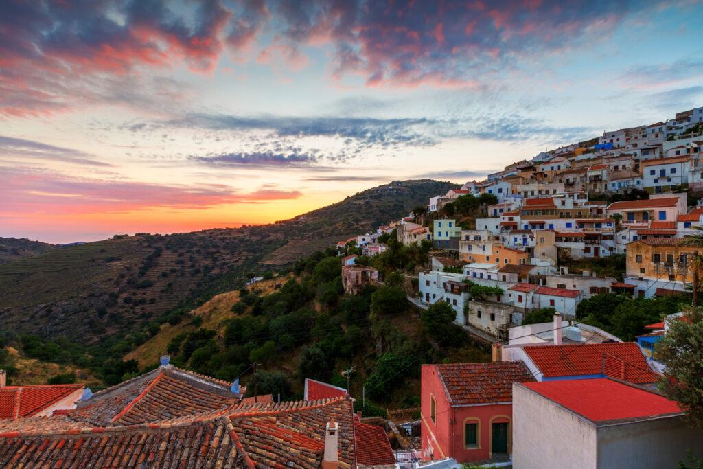 View of Ioulida village in Kea island, Cyclades Greece