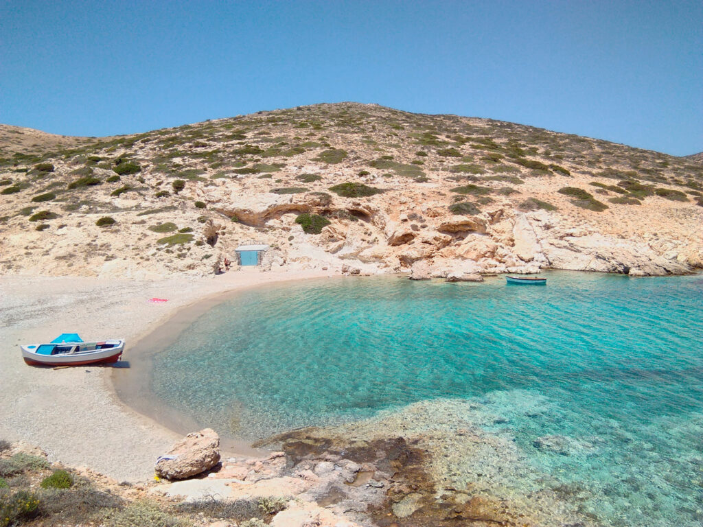 View of Kalotaritissa beach in Donoussa island, Small Cyclades Greece