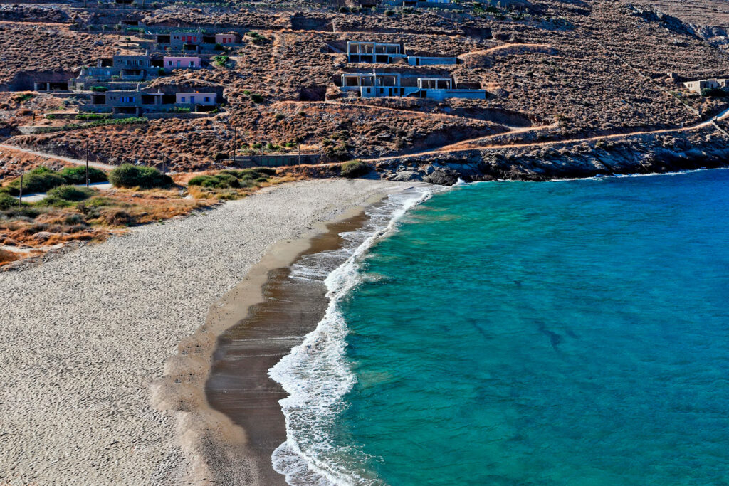 Xyla beach, one of the most popular beaches in Kea island, Cyclades Greece