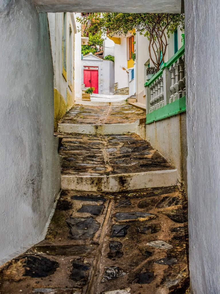 Alley in Chora Skopelos, Sporades Greece