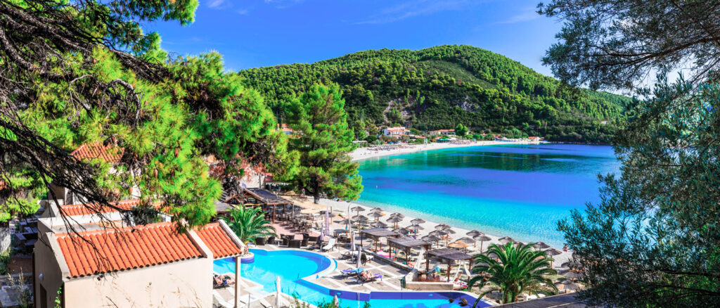 Beautiful Panormos bay - view with hotel and beautiful beach in Skopelos, Sporades Greece