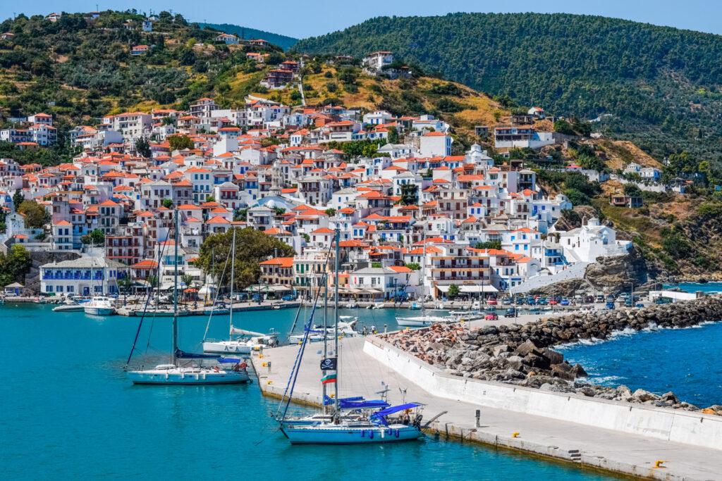 Chora and port in Skopelos, Sporades Greece