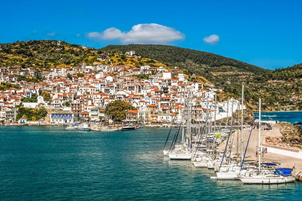 Chora and port in Skopelos Greece - Photo by Dimitris Vetsikas