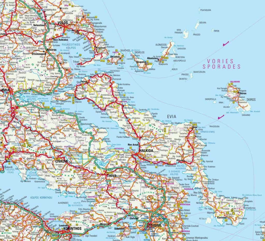Map of Evia, Pelion and Sporades islands