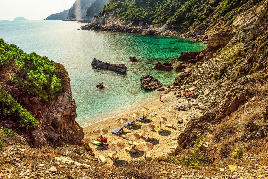 Hidden cove in Skopelos, Sporades Greece