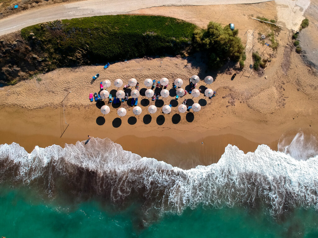 Aerial view of beach in Skyros island, Sporades Greece.