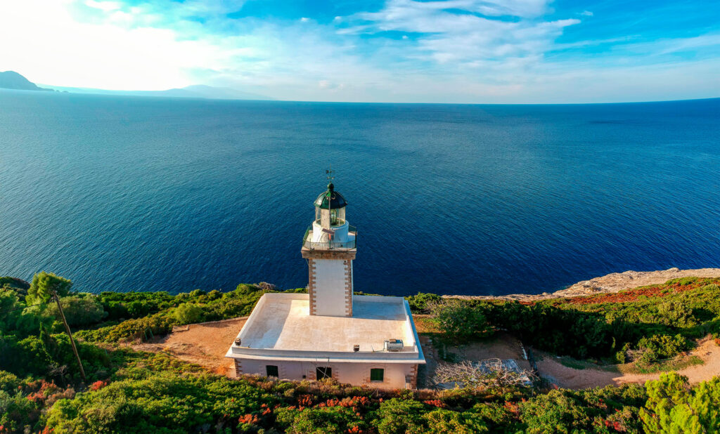The lighthouse on northern Skopelos is one of the oldest lighthouses in Greece it rises 60 m above the sea. Kavos Gourouni Skopelos island, Sporades, Greece