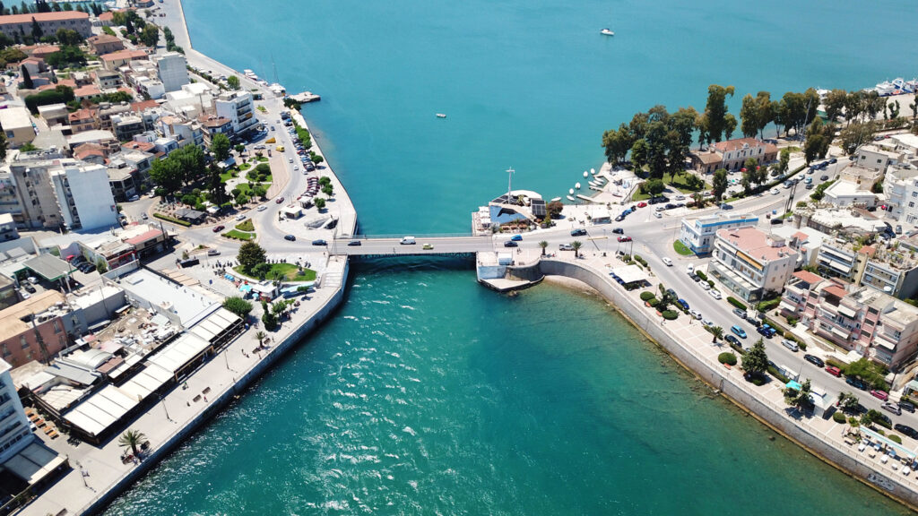 Old bridge in Chalkida city connecting Evia island with mainland Greece