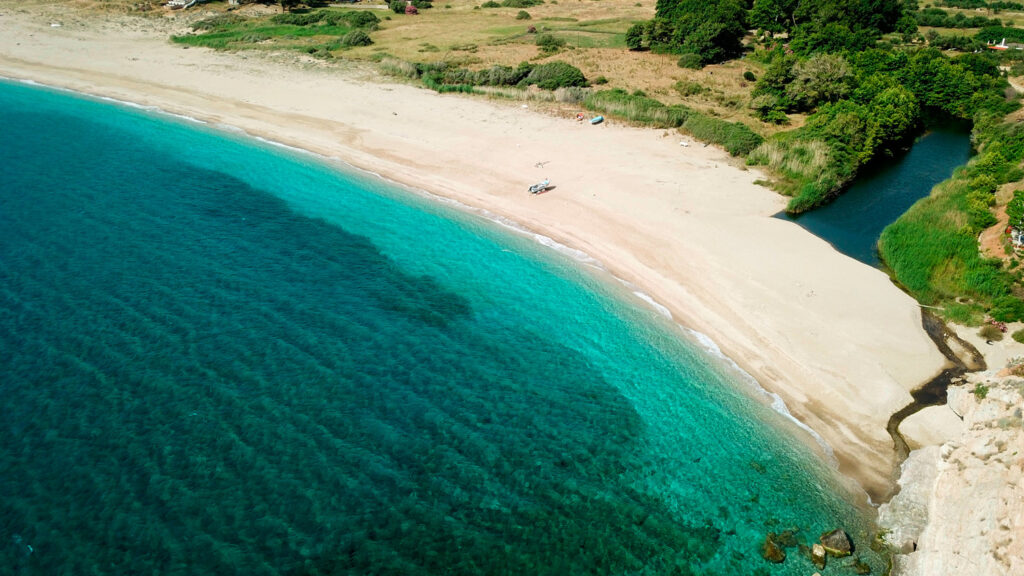 Potami beach and river in southern Evia, Central Greece