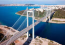 Aerial view of the new suspension bridge in Chalkida city connecting Evia with mainland Greece